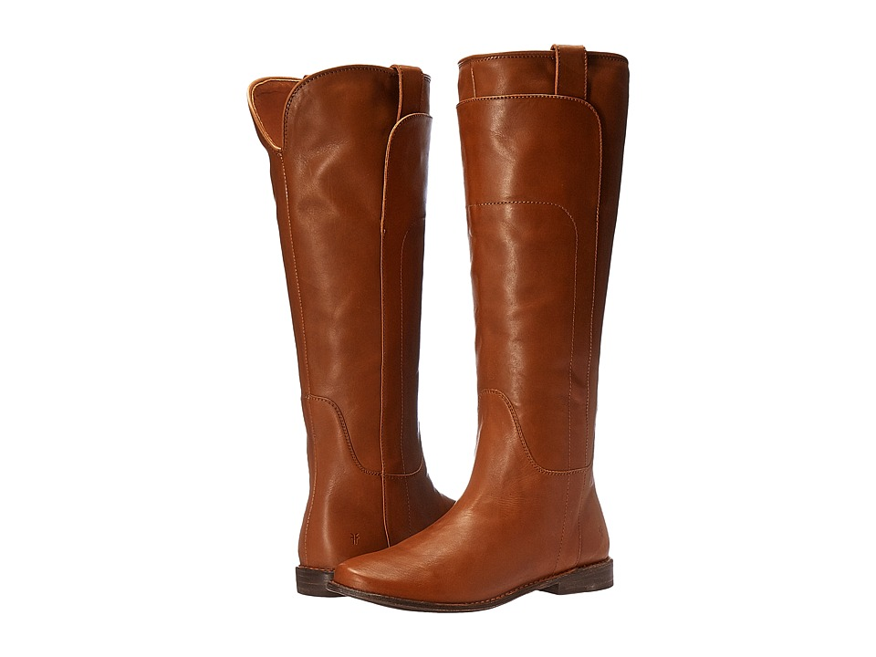 Frye Paige Tall Riding (Cognac Smooth Polished Veg) Women's Pull-on Boots