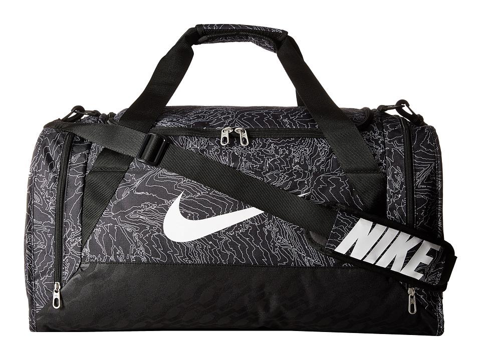 Nike - Brasilia 6 Duffel Graphic Medium (Black/Black/White) Duffel Bags