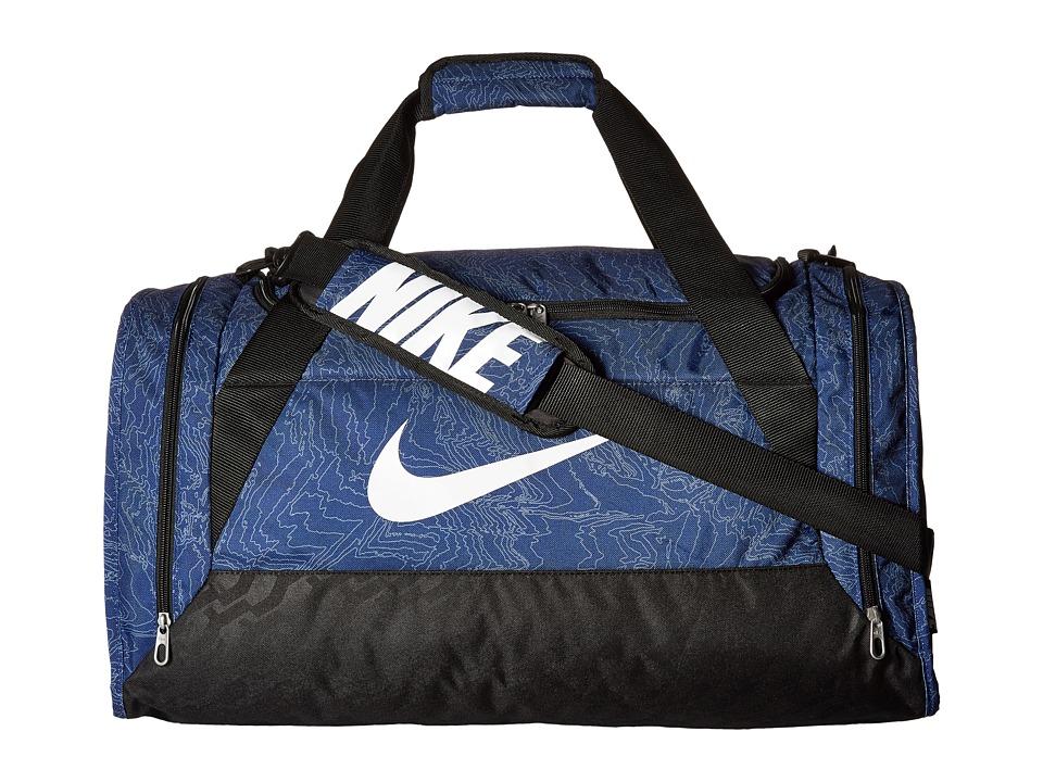 Nike - Brasilia 6 Duffel Graphic Medium (Deep Royal Blue/Black/White) Duffel Bags