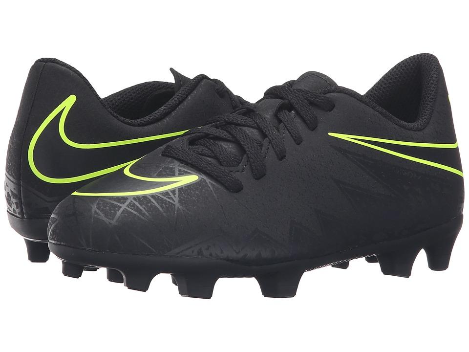 Nike Kids - Jr Hypervenom Phade 2 FG Soccer (Little Kid/Big Kid) (Black/Black) Kids Shoes