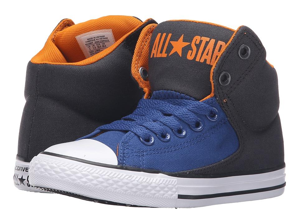Converse Kids - Chuck Taylor All Star High Street Hi (Little Kid/Big Kid) (Almost Black/Vivid Orange/White) Boys Shoes
