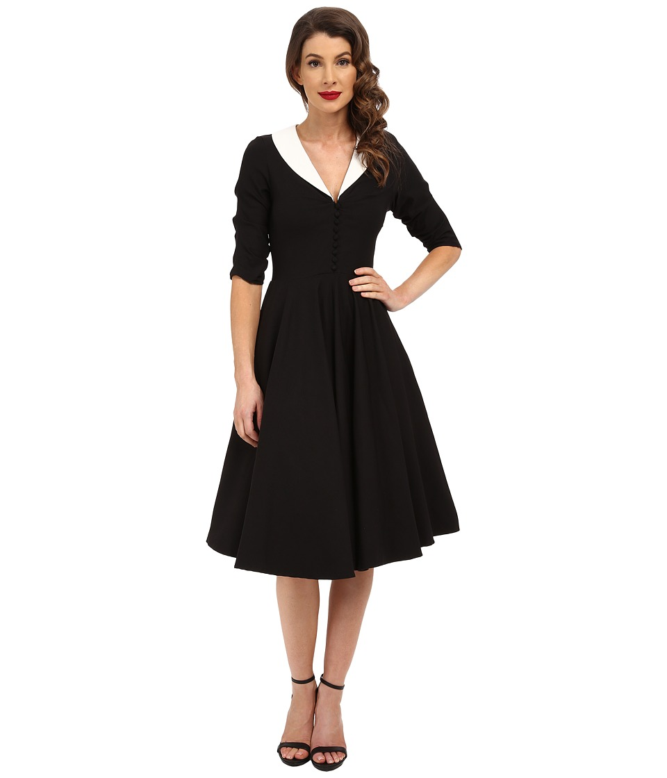 Unique Vintage 3/4 Sleeve Eva Marie Swing Dress Black/White Womens Dress
