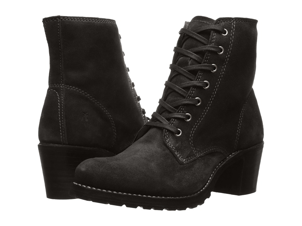 Frye Sabrina 6G Lace Up (Black Oiled Suede) Women