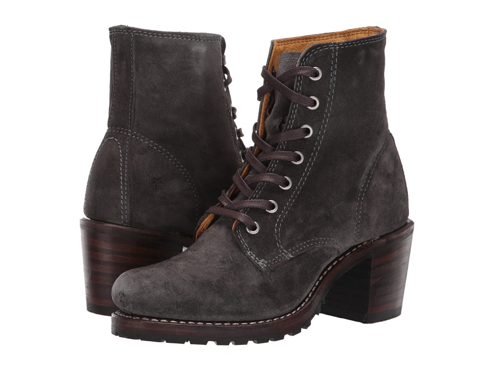 Frye Sabrina 6G Lace Up (Charcoal Oiled Suede)