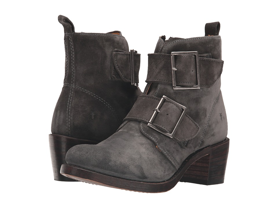 Frye Sabrina Double Buckle (Charcoal Oiled Suede) Cowboy Boots