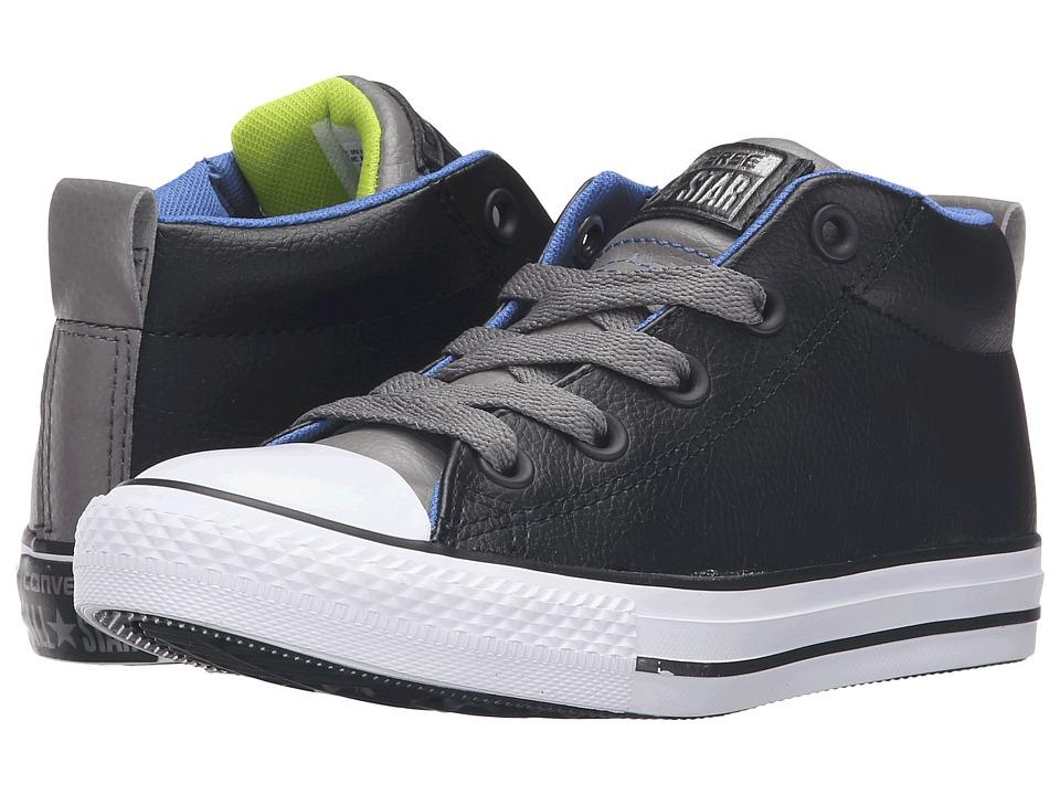 Converse Kids - Chuck Taylor All Star Street Mid (Little Kid/Big Kid) (Black/Charcoal Grey/White) Boys Shoes