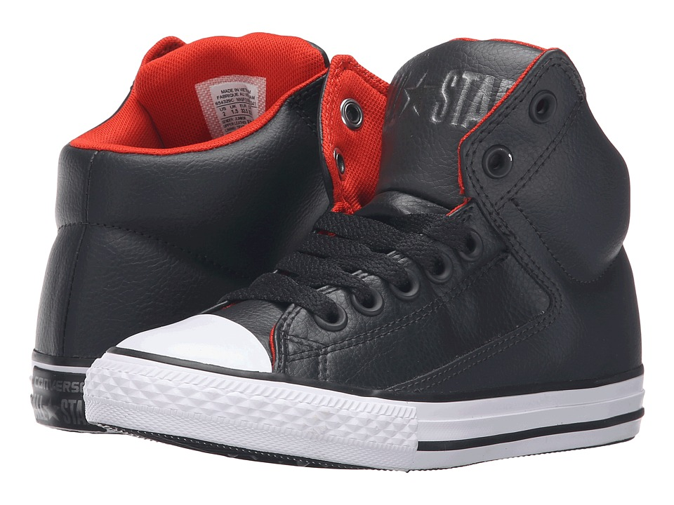 Converse Kids - Chuck Taylor All Star High Street Hi Leather (Little Kid/Big Kid) (Storm Wind/Charcoal/White) Boys Shoes
