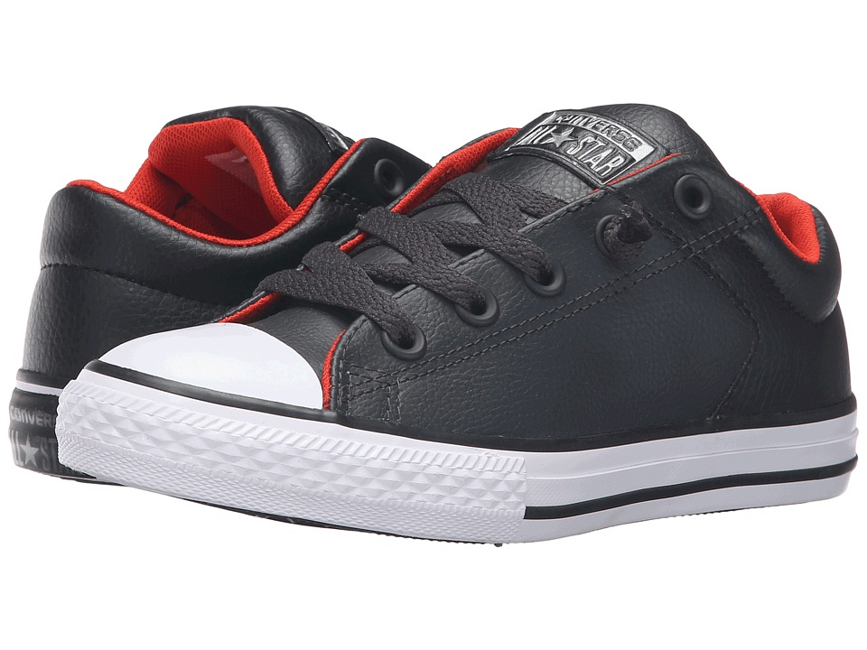 Converse Kids - Chuck Taylor All Star High Street Leather (Little Kid/Big Kid) (Storm Wind/White/Signal Red) Boys Shoes