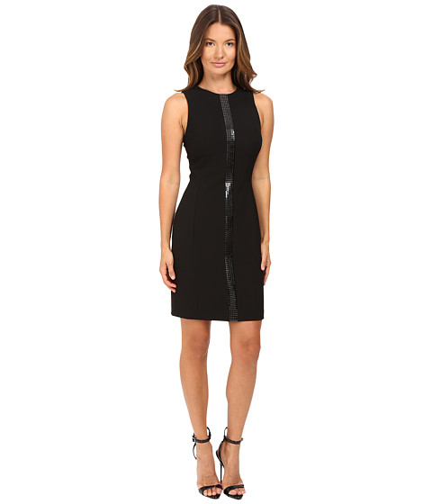Versace Collection Crew Neck Sleeveless Dress with Front Embellish
