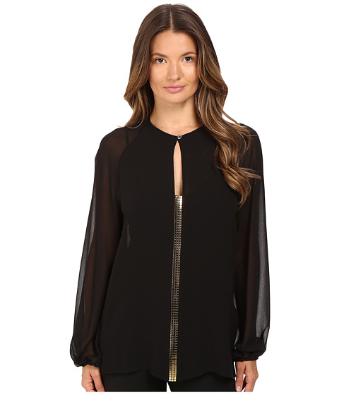 Versace Collection Blouse with Gold Embellished Front V-Neck