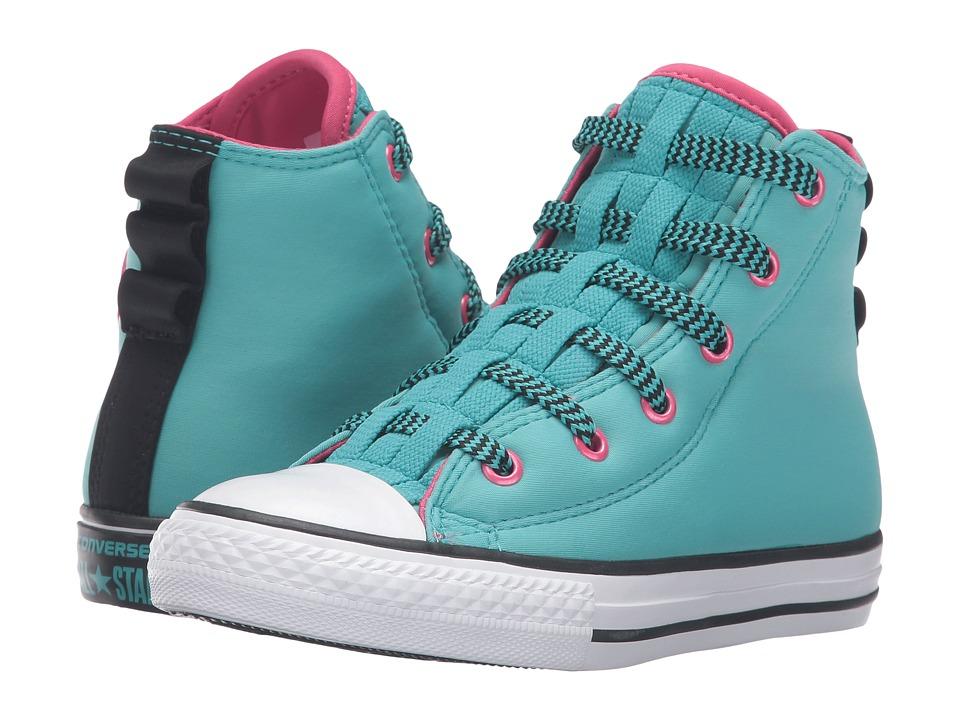 Converse Kids - Chuck Taylor All Star Loopholes Hi (Little Kid/Big Kid) (Aegean Aqua/Vivid Pink/White) Girls Shoes