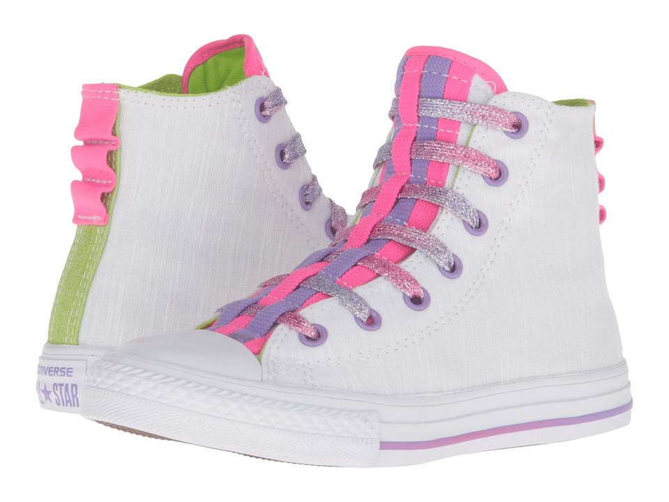 Converse Kids - Chuck Taylor All Star Loopholes Hi (Little Kid/Big Kid) (White/Bold Lime/White) Girls Shoes