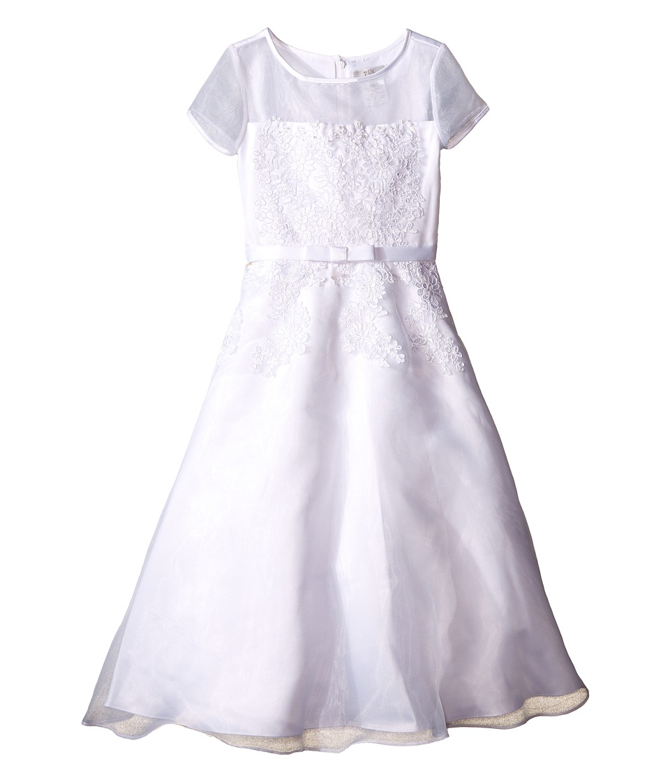 Us Angels Short Sleeve Organza A Line Dress w/ Embroidered Appliques Little Kids/Big Kids White Girls Dress