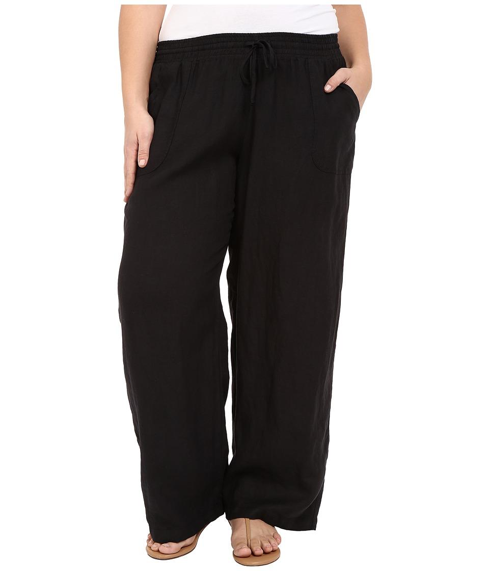 Allen Allen Plus Size Linen Long Pants Black Womens Casual Pants