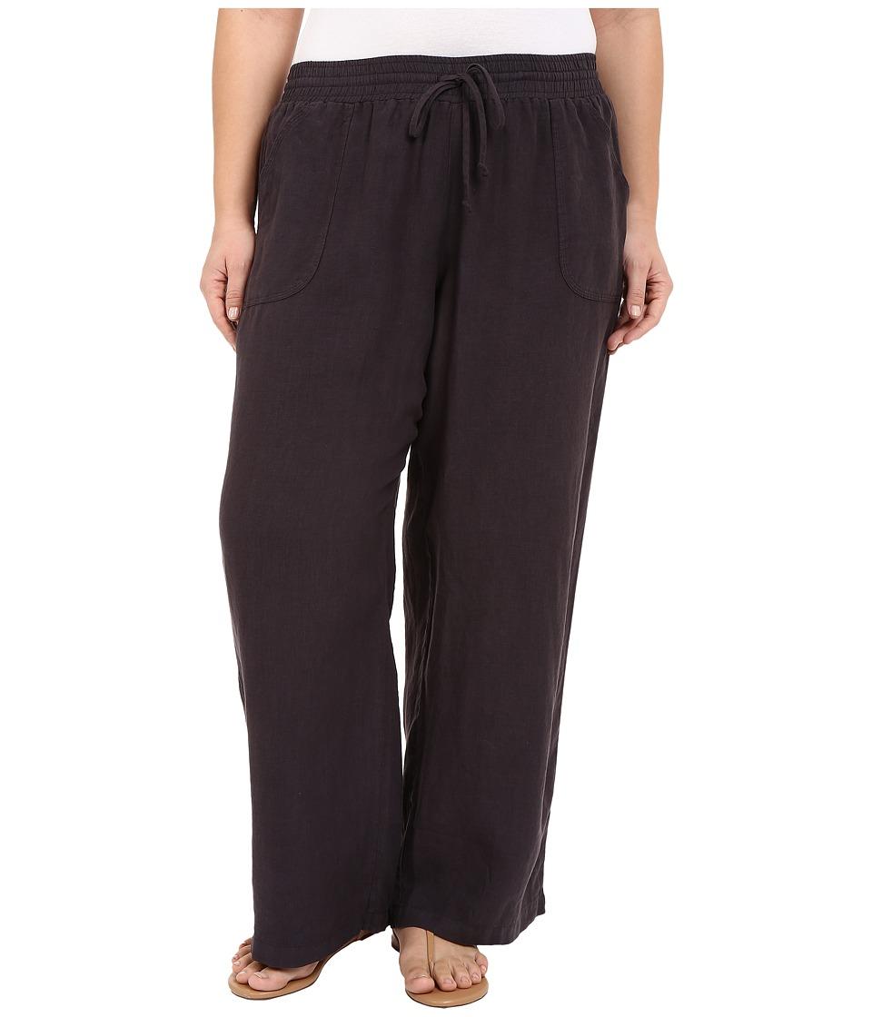 Allen Allen Plus Size Linen Long Pants Jet Grey Womens Casual Pants