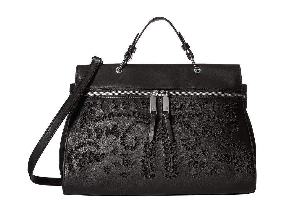 Ivanka Trump - Harper Satchel (Black Eyelet Leather) Satchel Handbags