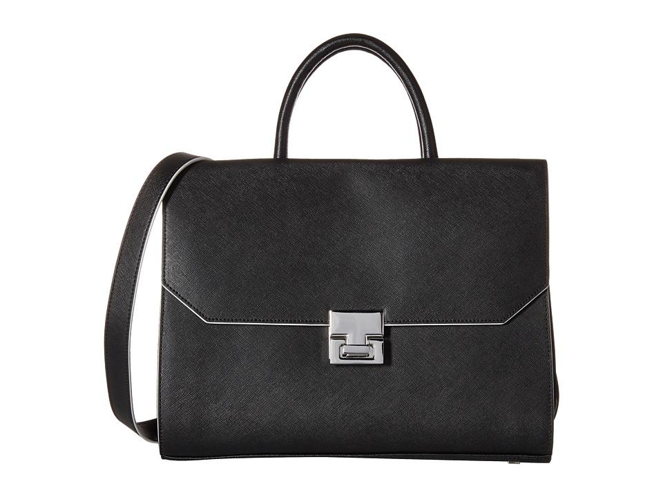 Ivanka Trump - Hopewell Satchel (Black Cross Grain Leather) Satchel Handbags