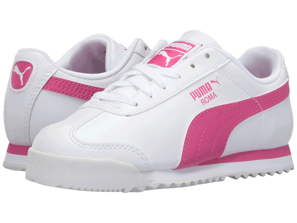 Puma Kids Roma Basic PS (Little Kid/Big Kid) (Puma White/Fuchsia Purple) Girls Shoes