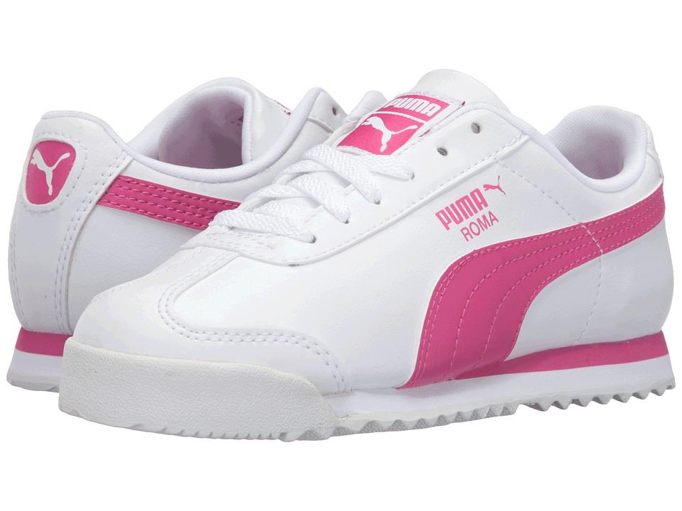 Puma Kids Roma Basic PS (Little Kid/Big Kid) (Puma White/Fuchsia Purple) Girls Shoes