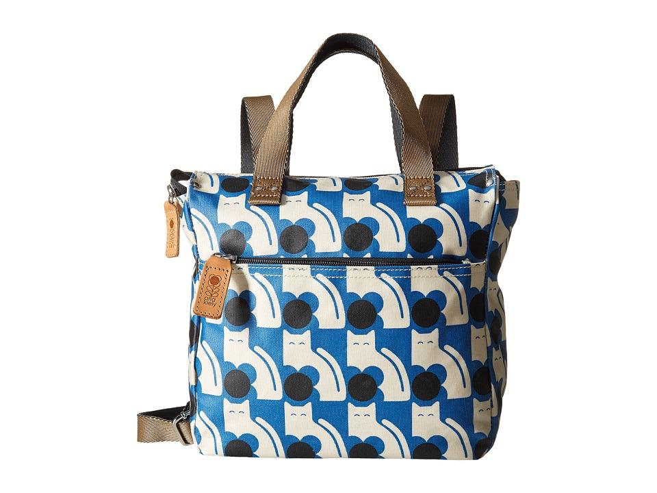 Orla Kiely Poppy Cat Print Small Backpack Powder Blue Backpack Bags