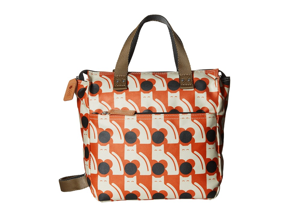 Orla Kiely Poppy Cat Print Small Backpack Persimmon Backpack Bags