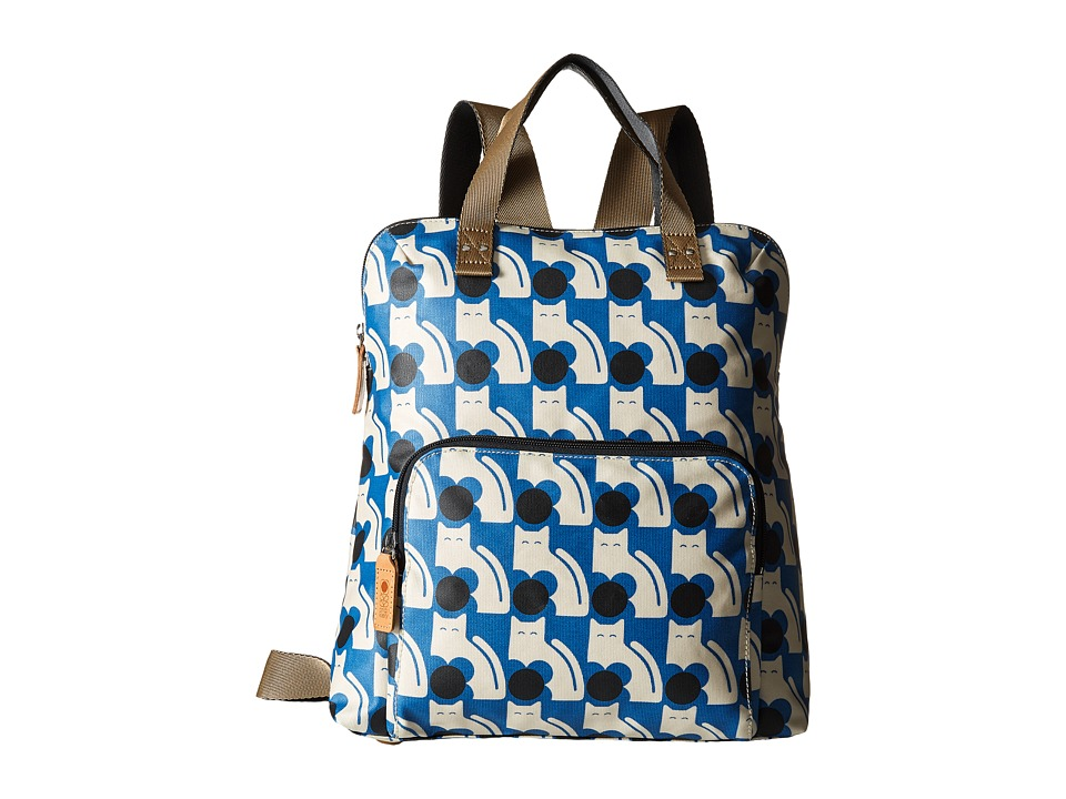Orla Kiely Poppy Cat Print Backpack Tote Powder Blue Backpack Bags