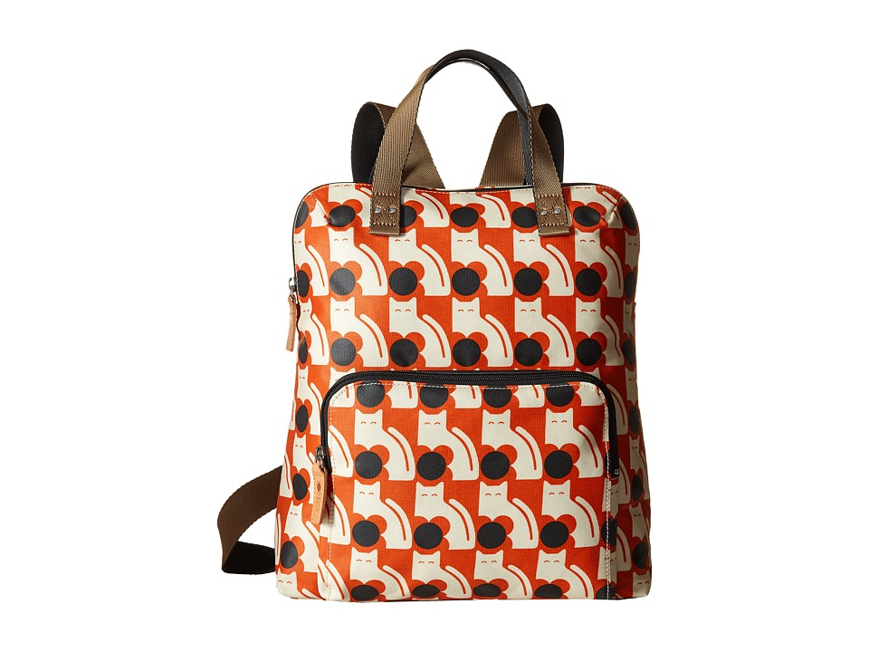 Orla Kiely Poppy Cat Print Backpack Tote Persimmon Backpack Bags