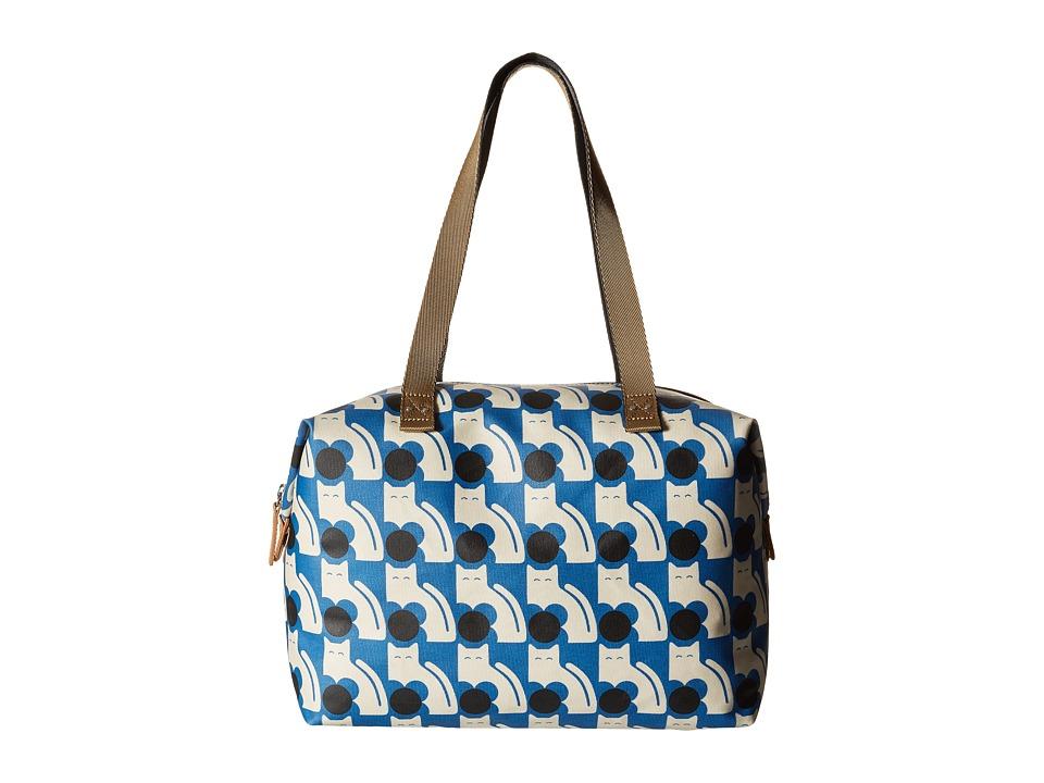 Orla Kiely Poppy Cat Print Big Zip Shopper Powder Blue Tote Handbags