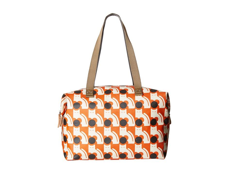 Orla Kiely Poppy Cat Print Big Zip Shopper Persimmon Tote Handbags