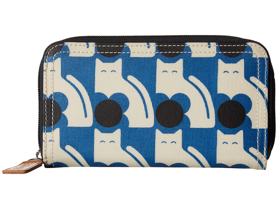 Orla Kiely Poppy Cat Print Big Zip Wallet Powder Blue Wallet Handbags