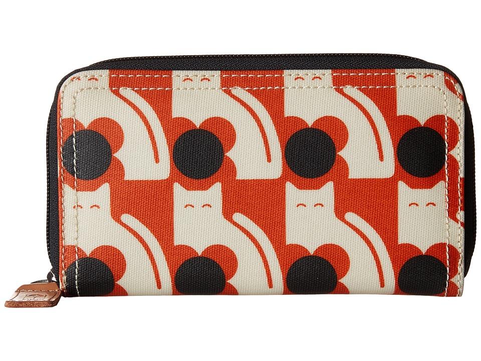 Orla Kiely Poppy Cat Print Big Zip Wallet Persimmon Wallet Handbags