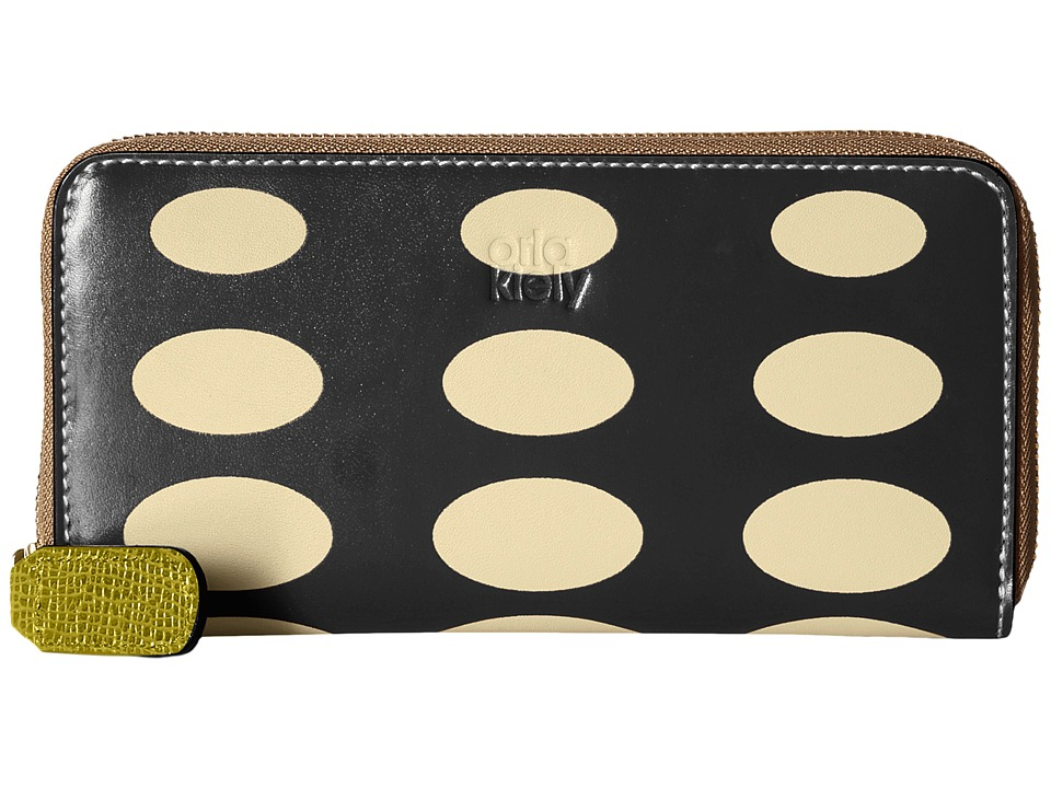 Orla Kiely Oval Printed Big Zip Wallet Black Wallet Handbags