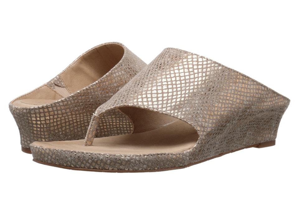 Tahari Mindy Natural Gold Phythom Gleam Fabric Womens Sandals