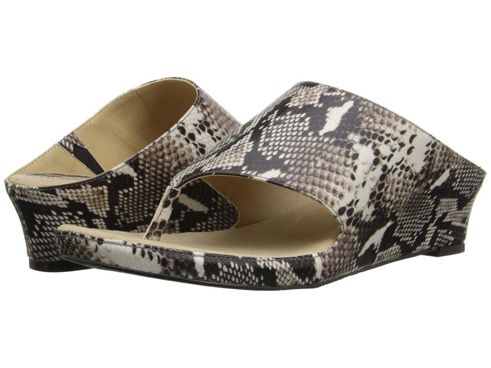Tahari Mindy Black/White Roccia Snake Print Womens Sandals