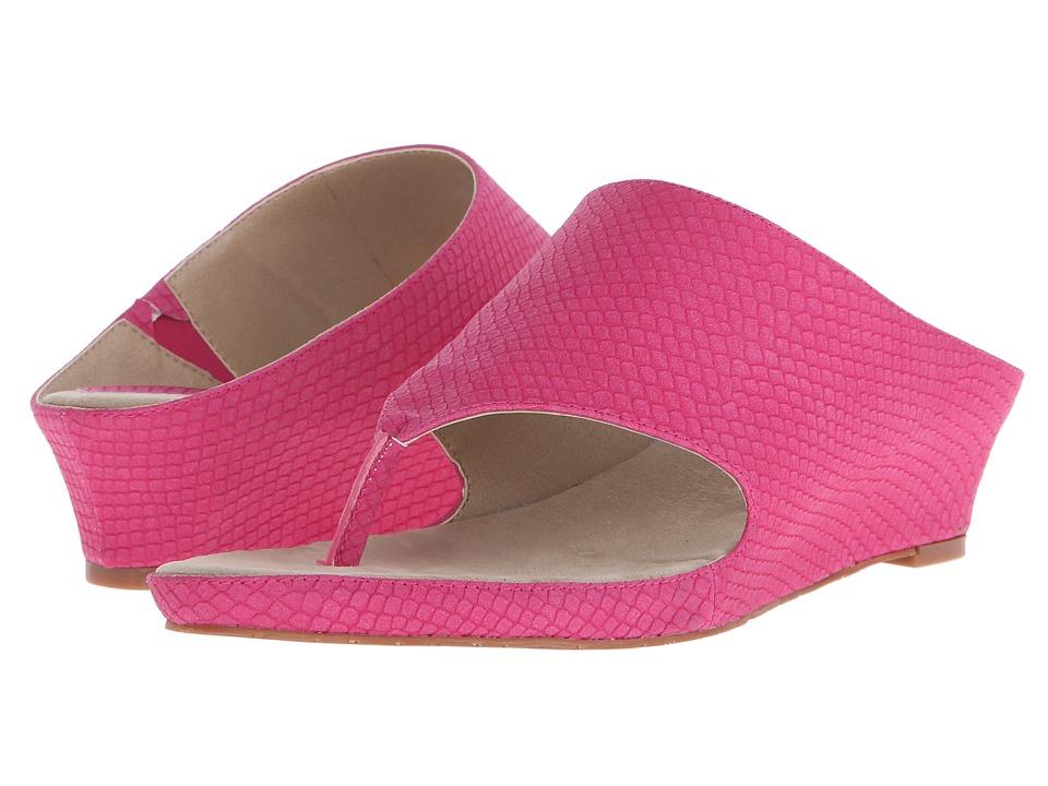 Tahari Mindy Raspberry Lizard Embossed Print Womens Sandals