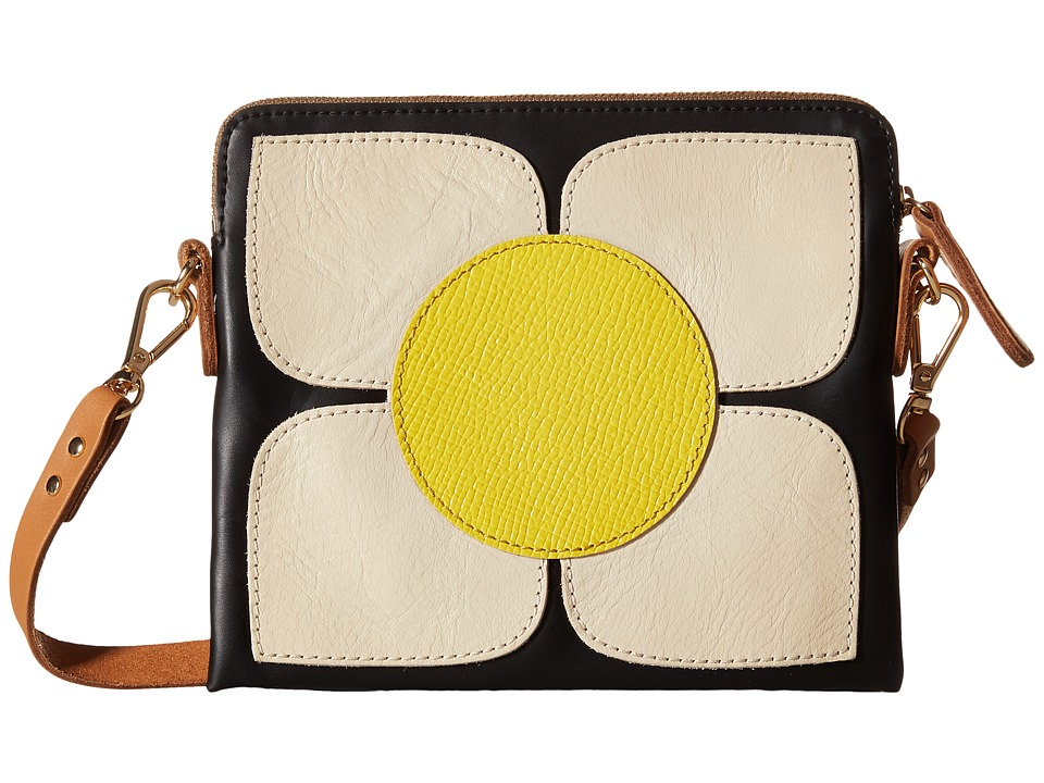 Orla Kiely Square Flower Applique Square Poppy Bag Black Bags