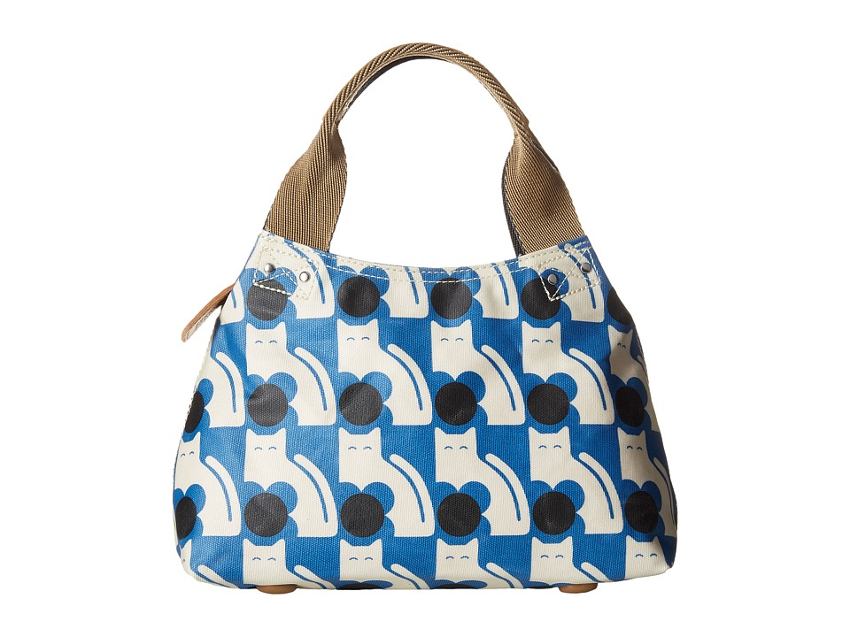 Orla Kiely - Poppy Cat Print Classic Zip Shoulder (Powder Blue) Shoulder Handbags