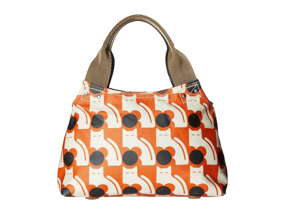 Orla Kiely Poppy Cat Print Classic Zip Shoulder Persimmon Shoulder Handbags
