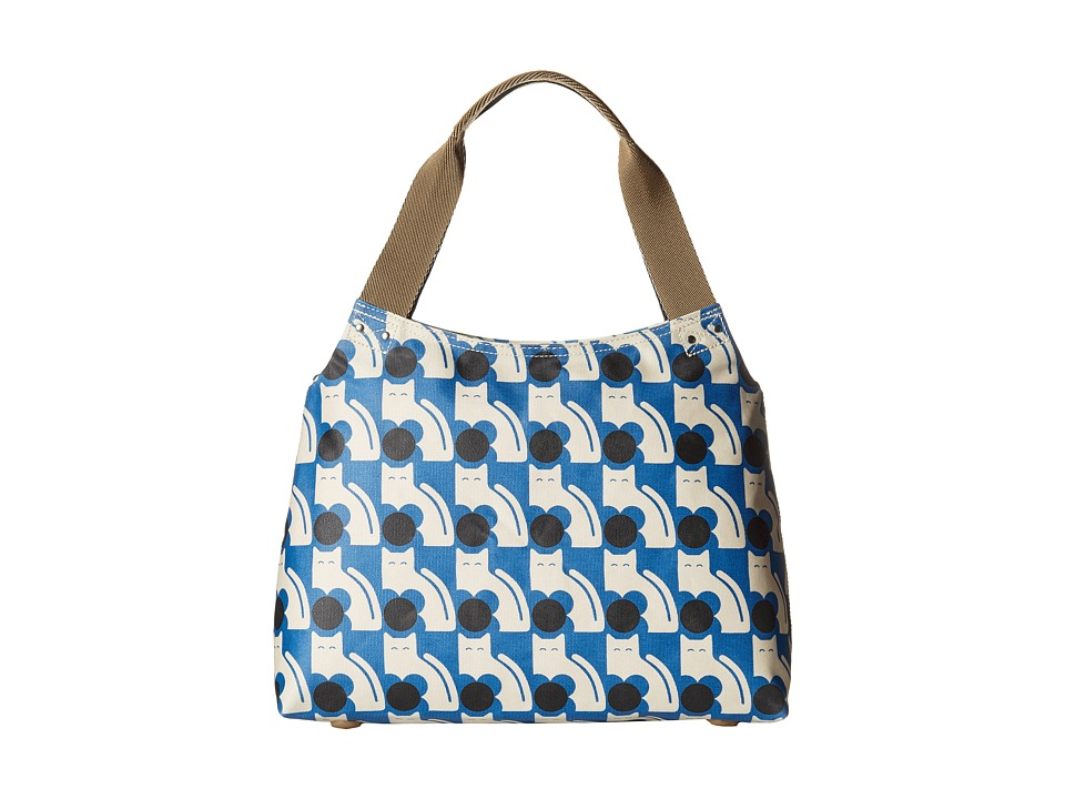 Orla Kiely Poppy Cat Print Zip Shoulder Powder Blue Shoulder Handbags