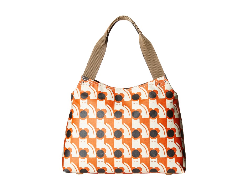 Orla Kiely Poppy Cat Print Zip Shoulder Persimmon Shoulder Handbags
