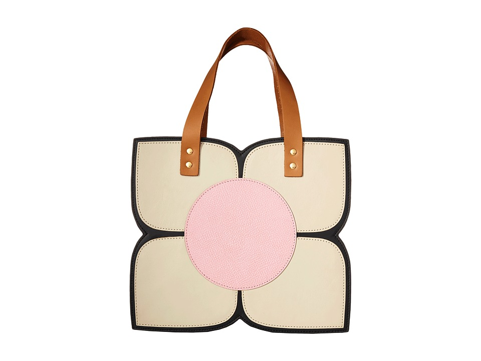 Orla Kiely Square Flower Applique Handbag Black Handbags