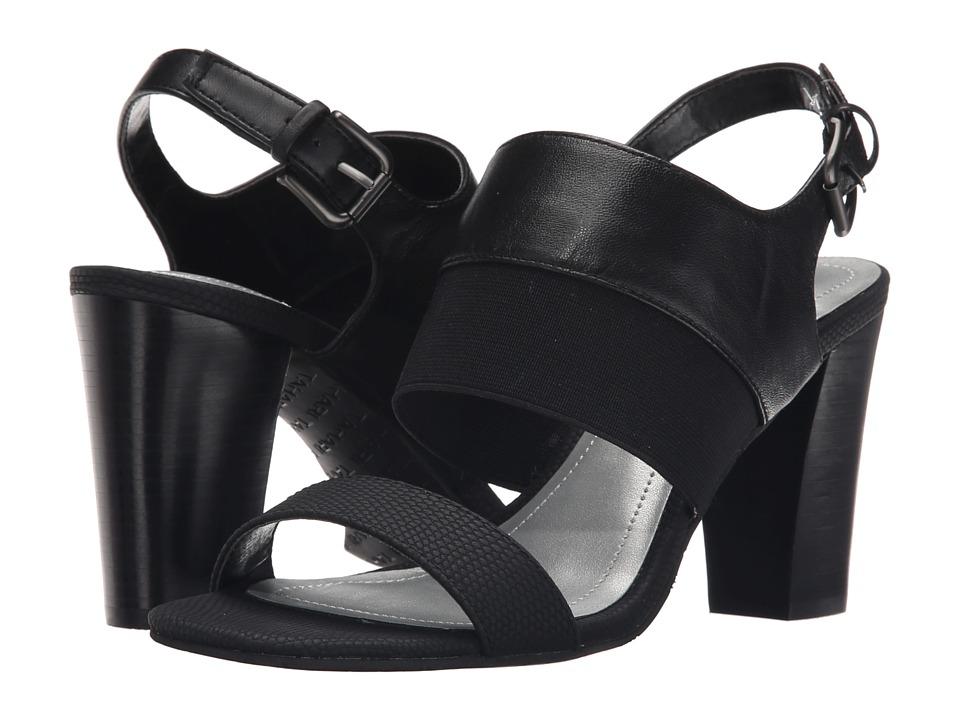 Tahari Peace Black Silk Leather/Lizard Print/Elastic Womens Shoes