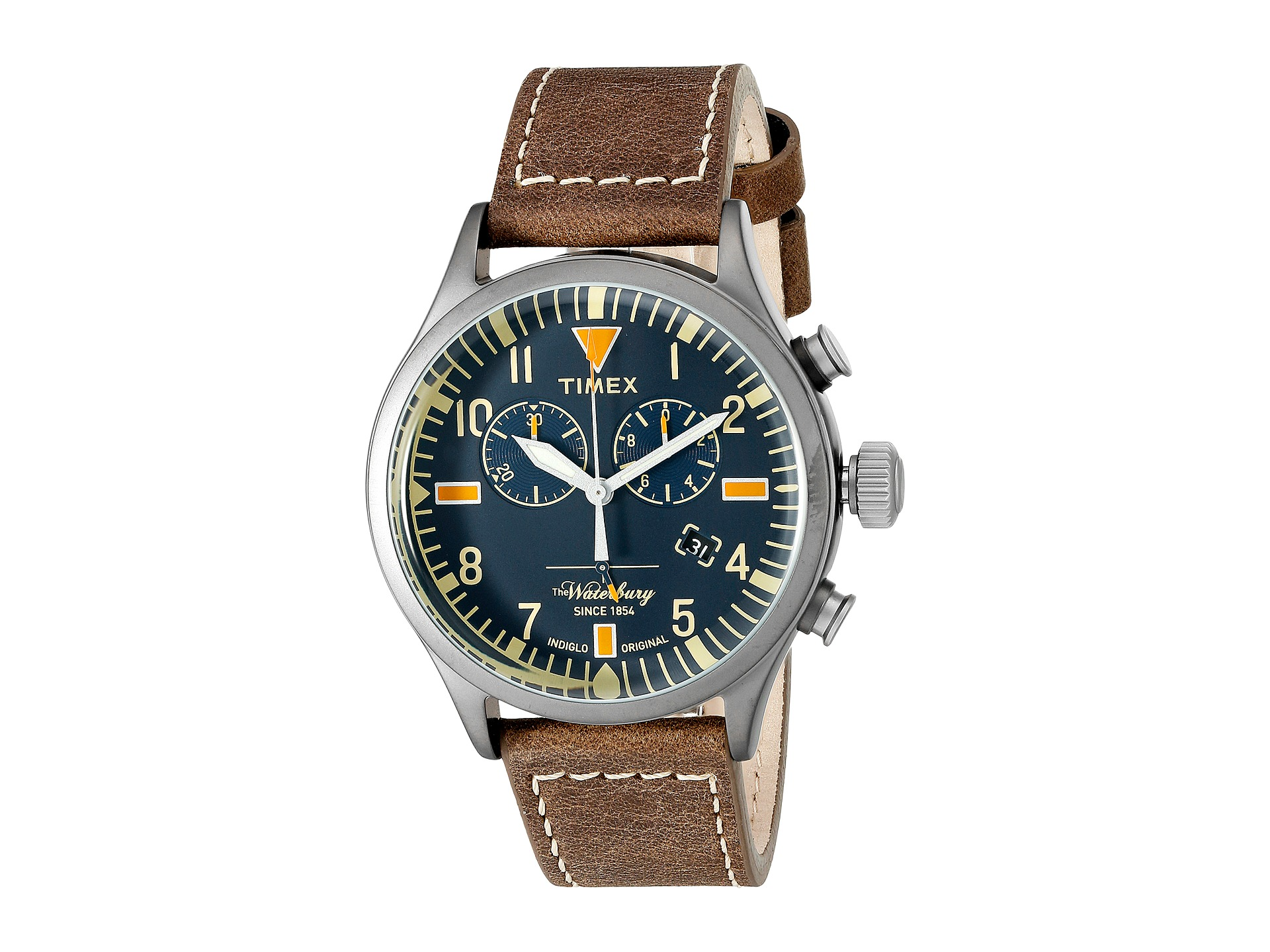 Timex waterbury chronograph leather strap for The waterbury