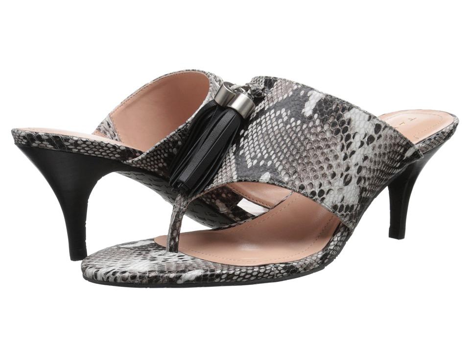 Tahari Rowan Black/White/Black Roccia Snake Print Womens Sandals
