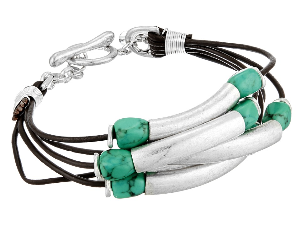 Robert Lee Morris Turquoise and Leather Toggle Bracelet Turquoise Bracelet