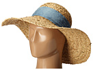 Betsey Johnson Sequin Floppy Hat with Freyed Denim Band (Natural)
