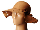 Betsey Johnson Felt Floppy with Floral Cut Out Brim (Camel)