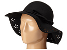 Betsey Johnson Felt Floppy with Floral Cut Out Brim (Black)