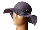 Betsey Johnson Felt Floppy with Floral Cut Out Brim (Grey)