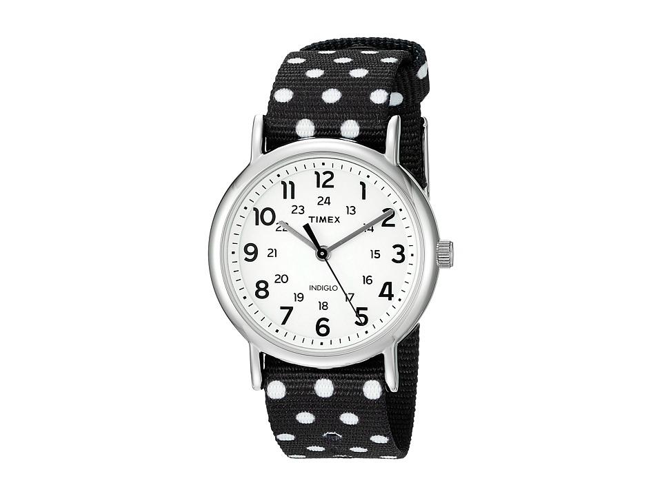 Timex - Weekender Reversible Nylon Slip-Thru Strap (Black/White) Watches